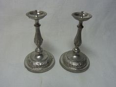 Vintage Miniature German Pewter Candle Holder House Altar #AS4