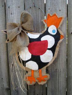 Chicken Burlap Door Hanger by nursejeanneg on Etsy, $28.00