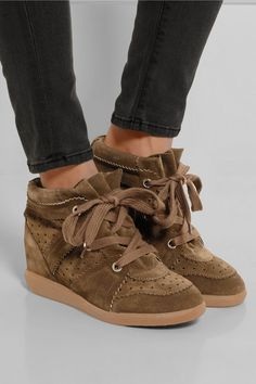 Isabel Marant | The Bobby suede wedge sneakers | NET-A-PORTER.COM