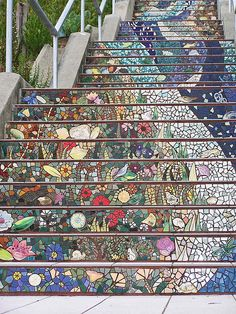 Crutcher Barr staircase up close. I can't even imagine the planning and execution it would take to create this amazing mosaic staircase. So beautiful and unique!