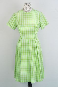 1950s vintage green plaid gingham check day by 86CharlotteStreet, $89.99  #1950s #vintage #gingham
