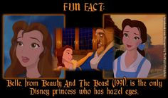 FUN FACT: Beauty And The Beast: Belle is the only Disney princess who has hazel eyes.