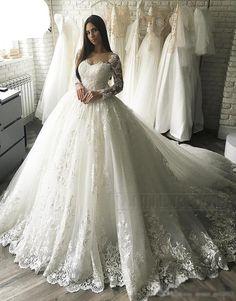 f4a87fc6b1 Vintage Ball Gown Embroidery Arab Dubai Wedding Dress long Sleeve Plus Size  Appliques Tulle White vestidos de novia 2019 W0349