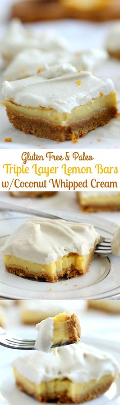 Triple Layer Paleo Lemon Bars that are gluten free, dairy free, #Paleo - topped with easy coconut whipped cream - these bars are a dream!