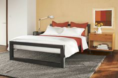 Perspective Bed in Natural Steel - Beds - Bedroom - Room & Board  Keeping the industrial look in mind, this has a hand-welded, natural steel frame makes a bold statement. No box spring required.  Stocked item $799