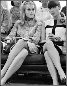 Jane Fonda in classic and Elsa Martinelli in Yves Saint Laurent's Mondrian dress, photo Giancarlo Botti, 1962