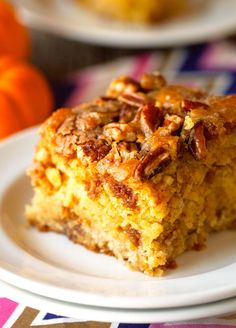 Pumpkin Coffee Cake with a Buttery Cinnamon Crumble and Chopped Pecans. This cake is unbelievably moist and oh so flavorful. Fall baking at its best!