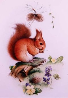 Red Squirrel in a Spring Landscape, Edward Julius Detmold