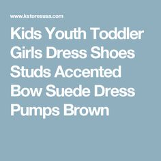 Kids Youth Toddler Girls Dress Shoes Studs Accented Bow Suede Dress Pumps Brown