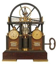 French industrial steam engine clock-- century themed clock- steampunk in the age of steam! Industrial Clocks, French Industrial, Vintage Industrial Decor, Vintage Antiques, French Antiques, Old Clocks, Antique Clocks, Vintage Clocks, Steampunk Clock