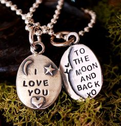 """I LOVE YOU To the Moon and Back"" sterling pendant. That about sums it up, don't you think? Wouldn't you like to receive one of these? Back Necklace, Dog Tag Necklace, Love Moon, Mother Daughter Necklace, I Love You, My Love, Love Words, Diy For Kids, To My Daughter"