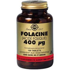 Vitamine B9  (acide folique) 400µg - 100 tablettes Solgar
