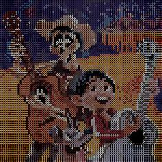 Disney's Coco Hama Disney, Perler Patterns, Bead Patterns, Stitch Patterns, Pearler Beads, Fuse Beads, Pixel Art, Pixar, Graph Paper Drawings