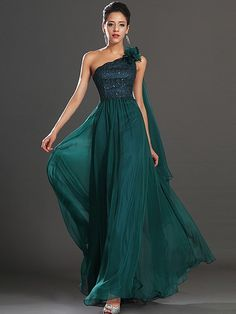 Riah - Floral Single Shoulder Lace and Chiffon A Line Prom Dress