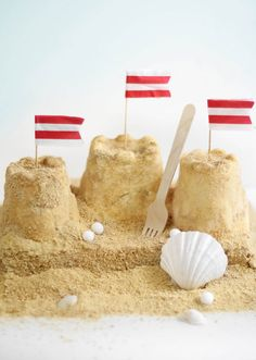 Bring the beach home with a sand castle ice cream cake. #NauticalJuly