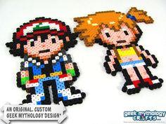 Pokemon Bead Sprites | Pokemon Ash and Misty Perler Bead Sprite by Geek Mythology Crafts, $10 ...
