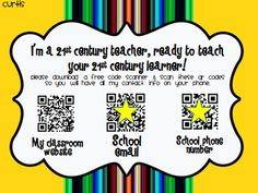 poster for your door on meet the teacher night...QR codes instantly get your contact info to parents