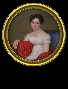 Susanne L'Huillier, later Mme Perregaux, Lady with Red Cape on Blue Sofa, ca. 1820