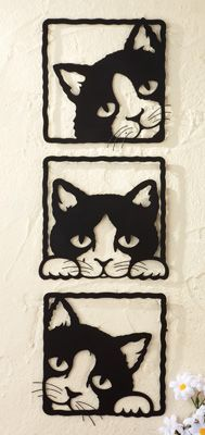 Peeping Black Cats 3D Metal Wall Plaques