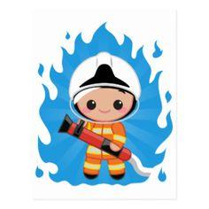 Registro bonito do sapador-bombeiro cartão postal