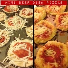 Pinterest inspired. I made these for Ben & he devoured them...can of biscuits in greased muffin pan, add pizza sauce, mozzarella & topped with pepperoni. Baked 10 mins at 400 degrees.