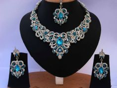Indian Silver Plated Necklace Set Party wear Zircon Beads Fashion Jewelry ECL