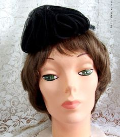 Vintage 40's Tilt Hat with Band at the Back  by thingsandblings
