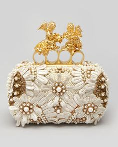 Alexander McQueen Embroidered Cherub Knuckle-Duster Clutch, Ivory on shopstyle.com