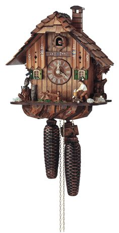 Picture a kettle of stew cooking, inside the cottage, and feel the warmth of the fireplace as you watch the moving woodchopper on this #Anton #Schneider #cuckoo #clock. An owl and squirrel keep our woodchopper company as he cuts more wood, and the rocks, grass and colorful flower boxes complete this homey scene.