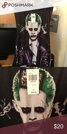 Suicide Squad Jared Leto Joker Tank Muscle tank, large open sides tag still attached! Paid $32 ($24 for shirt plus $8 shipping) Tops Tank Tops