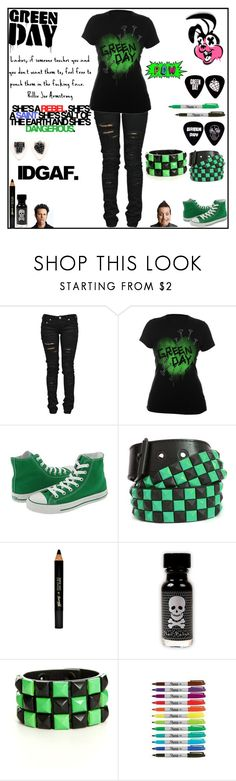 """""""Green day outfit"""" by xoxashlinaxox ❤ liked on Polyvore featuring Denim of Virtue, Converse, Barry M and Riley"""