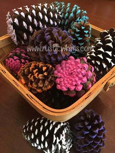 """Here in Georgia, many of us laugh at the idea of pine cones being in short supply! But at Rustic Whims, we get it! There are TONS of awesome crafts to make with pine cones but some of the craft store prices are outrageous! We want to help. If you need large quantities for projects (painted or natural) let us know! Carefully picked and put through a process to make sure they're """"decritterfied.""""  Painted pine cones Pine cone projects"""