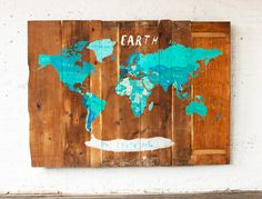 reminder: thankful every day, near + far. everywhere on earth wall, by oliver jeffers #Anthropologie #PinToWin