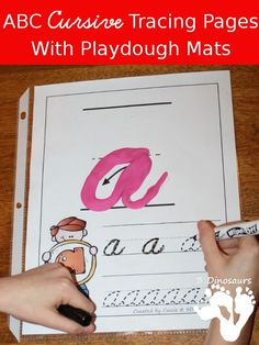 FREE ABC Lowercase Cursive Tracing Pages with Playdough Mats - 2 differen writing options - 3Dinosaurs.com