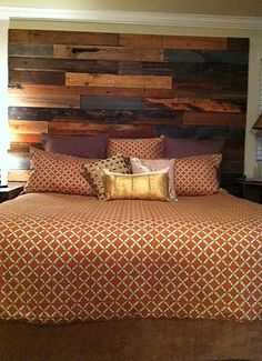 Headboard design from reclaimed wood pallets.