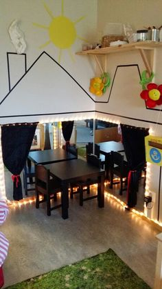 I like the use of mirrors in this dramatic play space. Preschool Layout, Preschool Classroom Setup, Preschool Centers, New Classroom, Classroom Setting, Classroom Design, Classroom Decor, Preschool Activities, Role Play Areas