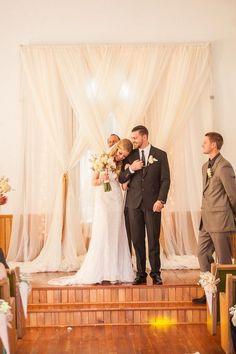 simple drapery wedding ceremony backdrop - so pretty!  ~  we ❤ this! moncheribridals.com