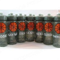 Basketball water bottles.  Party favors, team bottles, school.  www.mboston9.storenvy.com