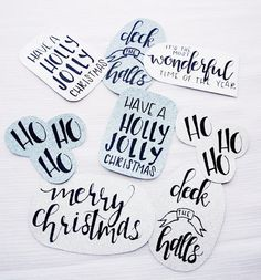 Holiday Gift Tags Set Of 10 - Glitter Gift Tags - Christmas Tags - Custom Gift Tags - Christmas Gift Tags - Christmas Gift - Hand Written  This listing is for a set of 10 hand written custom calligraphy holiday gift tags. They make the perfect finishing touch for any and all of your holiday gifting this season! Each set of 10 includes two of each tag pictured above - one on silver glitter stock, and one on blue glitter stock! Each tag also comes with twine so that you can attach it to your…