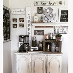 Coffee bar made from an old china cabinet bottom with all handmade signs. Handmade Furniture - http://amzn.to/2iwpdj4