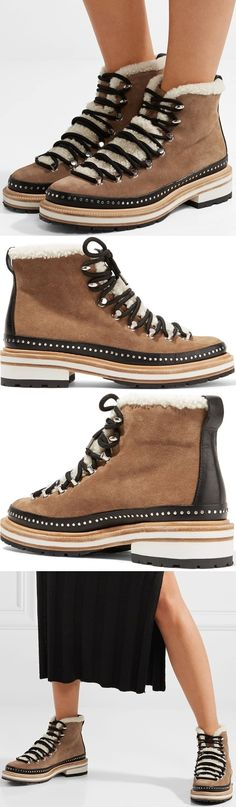 Hiking boots were seen on so many runways this season and instantly became one of our favorite trends. rag & bone's 'Compass' ankle pair is made from Italian suede and paneled with fuzzy shearling for warmth. They're set on a thick, gripped sole and have black leather trims that are punctuated with studs. Reach for them as soon as the temperature drops.