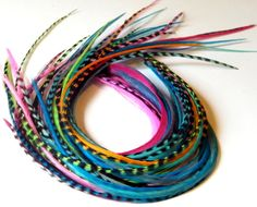 Long Feather Extensions, Hair Feathers  7 to 10 inches long  your choice of grizzly hair feathers or solid hair feathers, you choose color on Etsy, $1.30