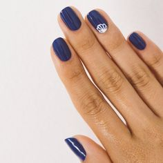 23 Beautiful Nail Art Designs and French Manicure in Acrylic and Gel polish. Summer trending nails Royal Navy blue nails with single nail with art. Long Nail Art, Long Nails, Nail Color Trends, Nail Colors, Long Nail Designs, Nail Art Designs, Nails Design, Purple French Manicure, French Manicures