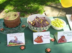 Gruffalo Party.  Includes owl ice cream, roasted fox, scrambled snake and pickled warts!