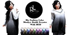 """The """"Rir Fashion Color Shadow Knith Sweater With Hud"""" are Available at Rir Life Design main store! Available in Standard sizing, XXS,XS,S,M,L include alpha layer,Texture HUD 100% mesh  enjoy shopping <3  Rir Life Design http://maps.secondlife.com/secondlife/Hermanly/204/168/23"""