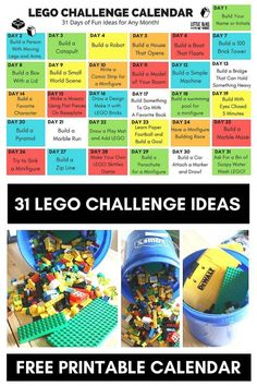 Printable LEGO Challenge Calendar Ideas for Kids. Fun LEGO building challenges and STEM activities for kids and families. Perfect or kindergarten and elementary age kids.