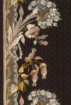 Sample for a Camisole Embroidery with Flower and Peacock Feather Motifs  France, 1780s
