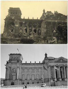 vintage everyday: Berlin Battleground – Pictures of The Battle for Berlin and 70 Years Later ~ Russian soldiers in front of the Reichstag building in this undated photo taken May 1945 in Berlin (top) and at the same location (bottom) April World History, World War Ii, Ddr Brd, Then And Now Photos, Berlin Wall, Red Army, German Army, Historical Pictures, Berlin Germany