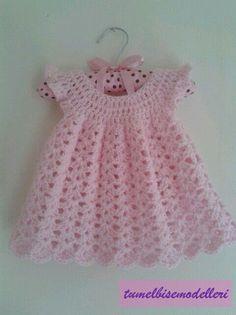 Crochet baby girl dress free pattern angel wings Super ideas - Home & DIY Crochet Baby Dress Free Pattern, Crochet Dress Girl, Baby Dress Patterns, Baby Girl Crochet, Crochet Baby Clothes, Crochet For Kids, Knit Crochet, Crochet Patterns, Crochet Baby Dresses