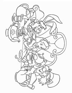 Mad Hatter tea party coloring page Alice in Wonderland